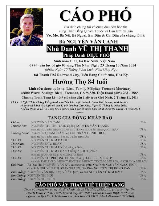 CAO PHO  Ba VU THI THANH -Phu Nhan GS Canh